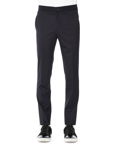 Pinstripe Contrast-Waist Trousers, Navy Blue