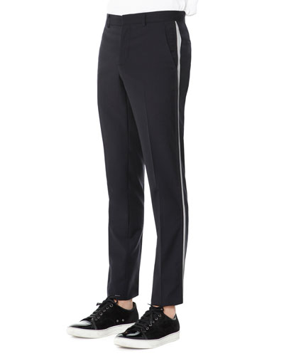 Wool Trousers with Side Stripe, Navy Blue
