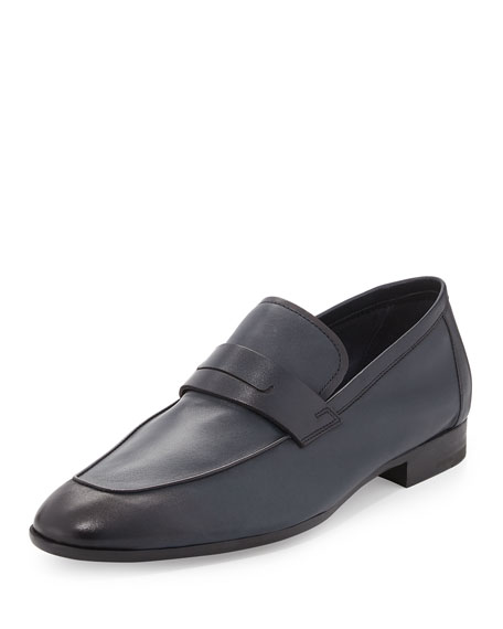 Berluti Lorenzo Unlined Leather Loafer, Navy