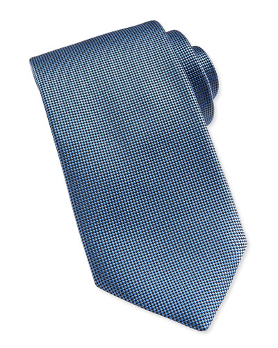 Solid Woven Silk Tie, Blue