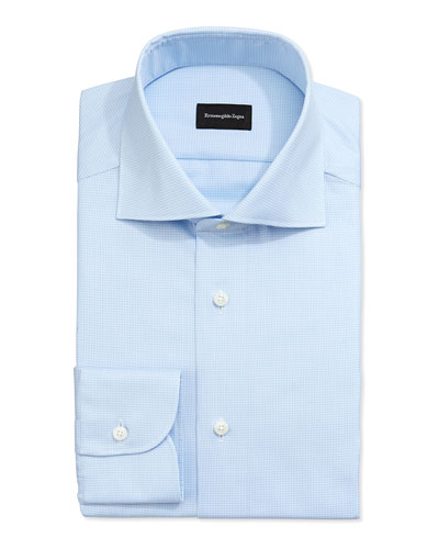 Micro Gingham Check Dress Shirt, Lt. Blue