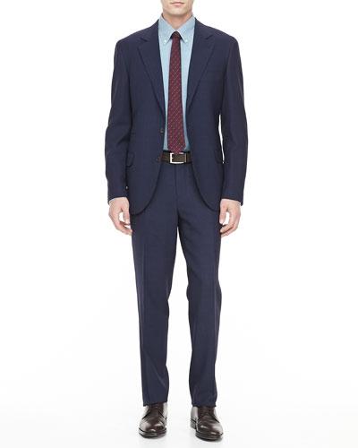 Tonal Plaid Suit, Navy