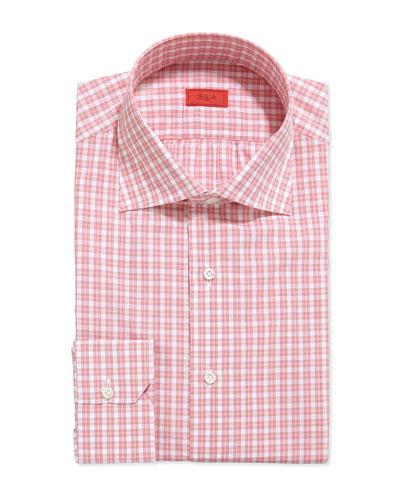 Woven Box Check Dress Shirt, Pink