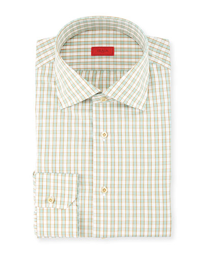 Woven Box Gingham Dress Shirt, Seafoam/Gold