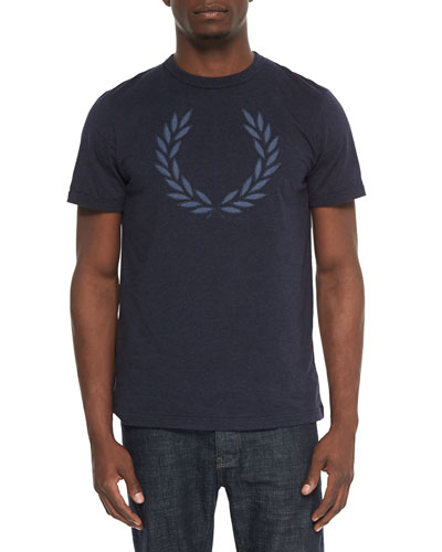 Chambray Wreath-Print Tee, Navy