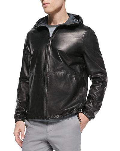 Reversible Leather Hoodie, Black
