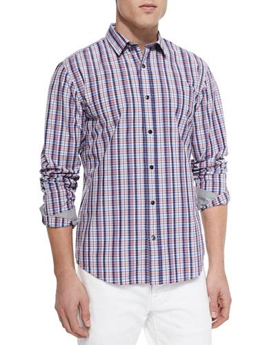 Woven Plaid Sport Shirt, Blue/Pink