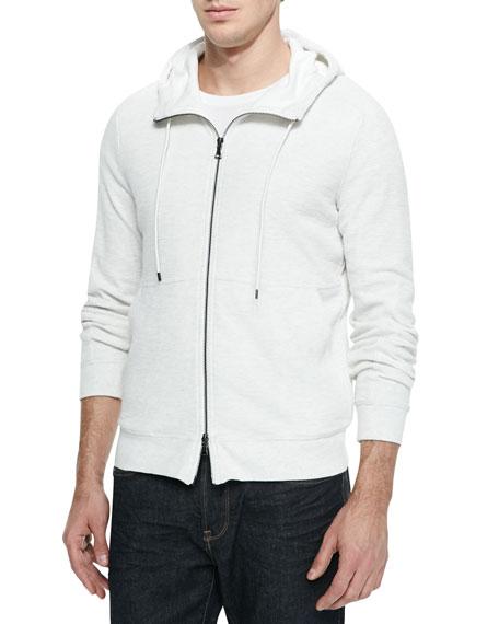 Vince Slub-Knit Thermal Zip Hoodie, White