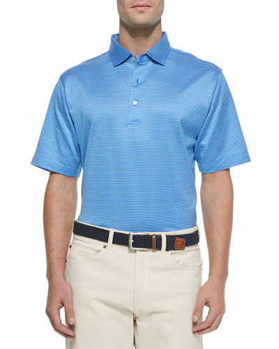 Jacquard Lisle-Knit Cotton Polo, Liberty Blue