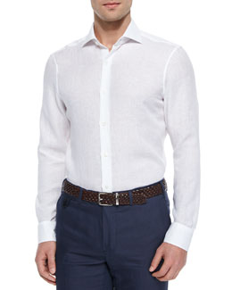 Solid Linen Shirt, White