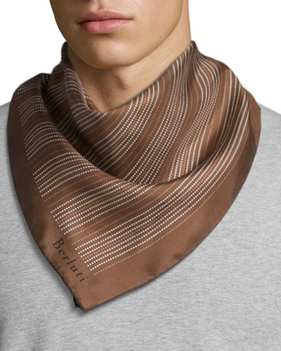 Dotted Line Square Scarf, Brown