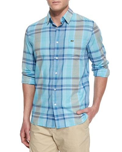 Long-Sleeve Plaid Sport Shirt, Blue