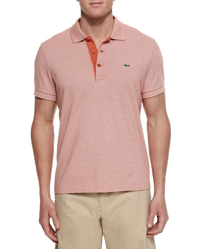 Micro-Stripe Polo Shirt, Orange