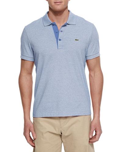 Micro-Stripe Knit Polo Shirt, Blue