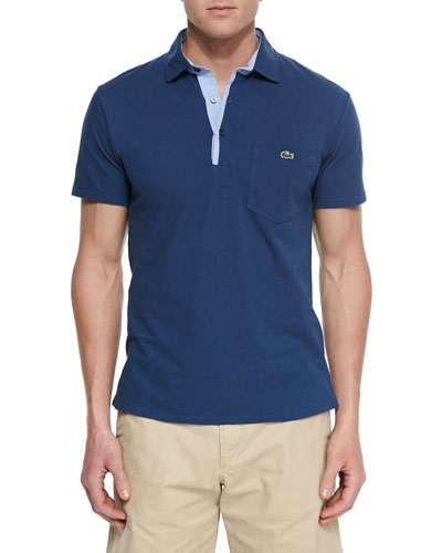 Short-Sleeve Polo Shirt, Navy