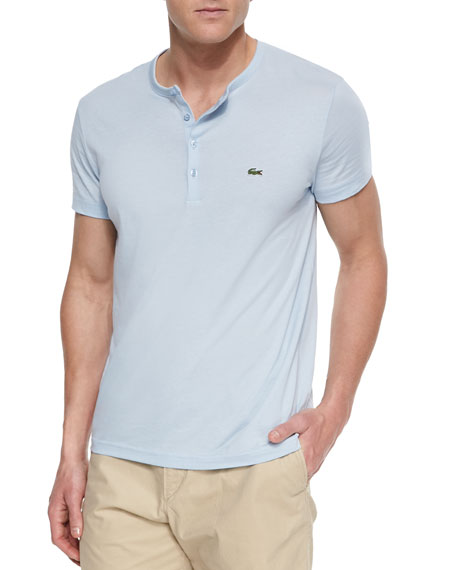 Lacoste pima cotton henley t shirt light blue for Pima cotton tee shirts