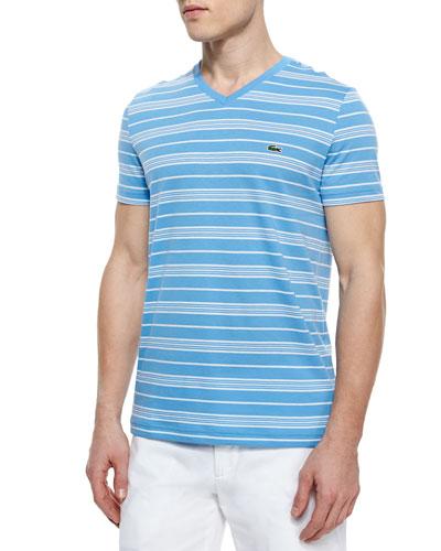 Short-Sleeve Striped V-Neck T-Shirt