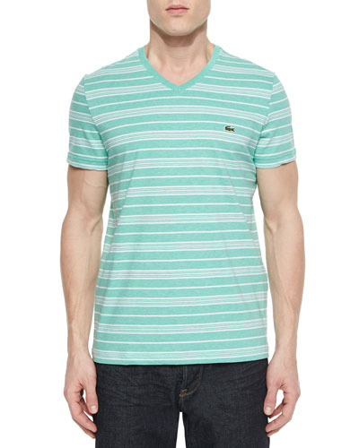 Striped Short-Sleeve Woven Tee, Mint/White