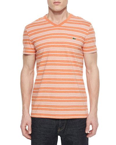 Striped Short-Sleeve Woven Tee, Orange/White
