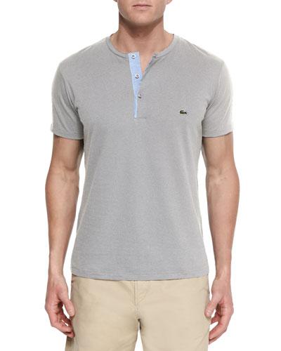 Woven Baseball-Collar Henley Shirt, Gray