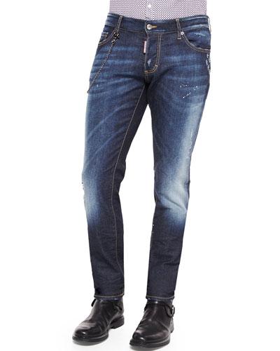 Slim-Fit Medium-Wash Denim Jeans with Chain, Blue