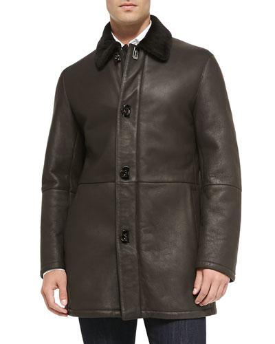 Shearling Fur Car Coat, Brown
