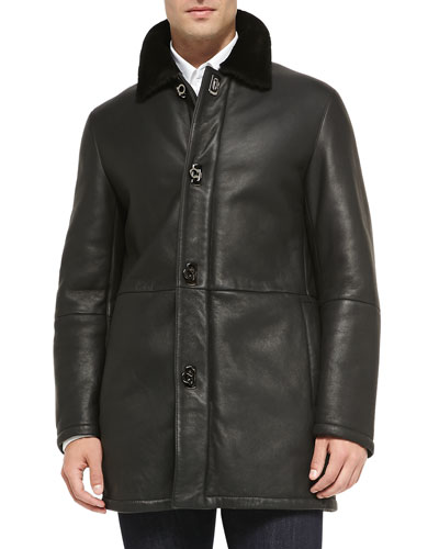 Shearling Fur Car Coat, Black