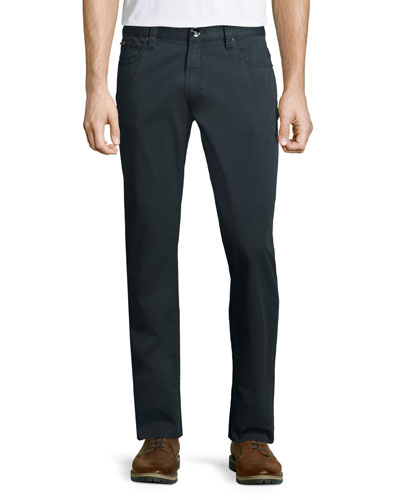 Five-Pocket Slim-Fit Stretch Pants, Charcoal