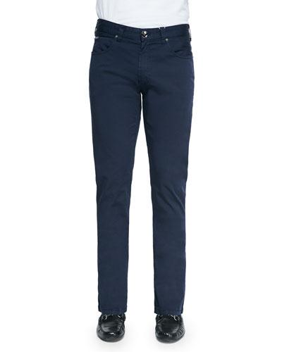 Five-Pocket Cotton Pants, Navy