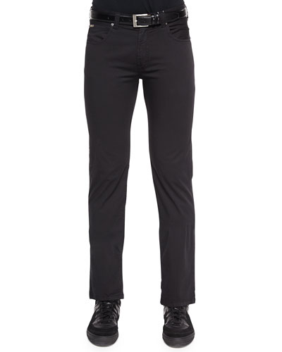Five-Pocket Cotton-Stretch Pants, Black