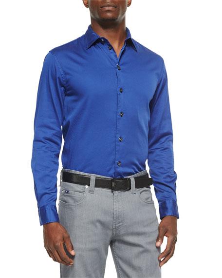 Armani CollezioniSolid Stretch-Poplin Sport Shirt, Cobalt