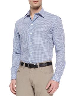 Modern-Fit Check Woven Dress Shirt, Navy