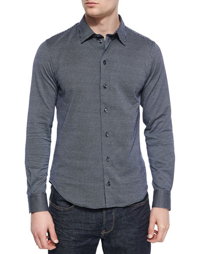 Dotted-Line Striped Sport Shirt, Navy