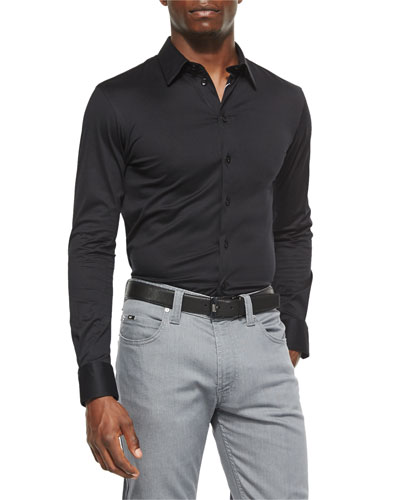 Solid Woven Sport Shirt, Black