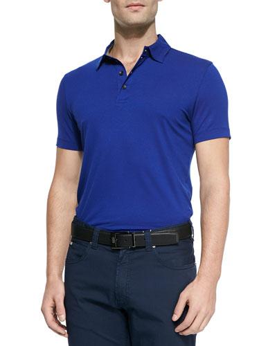 Solid Stretch Polo Shirt, Cobalt