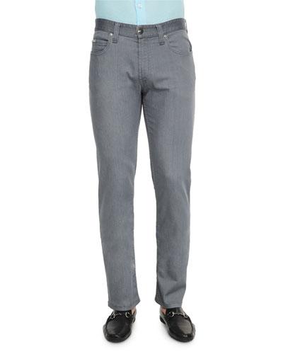 Five-Pocket Stretch-Cotton Jeans, Medium Gray