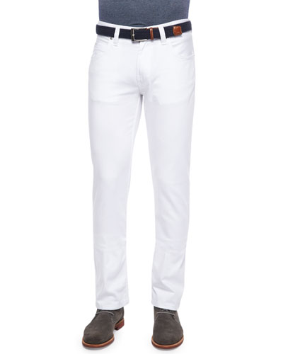 Five-Pocket Stretch-Knit Jeans, White
