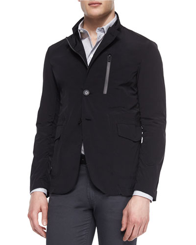 Nylon Zip-Up Blazer Jacket, Black