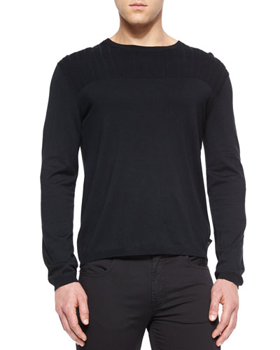 Textured Long-Sleeve Crewneck Sweater, Black