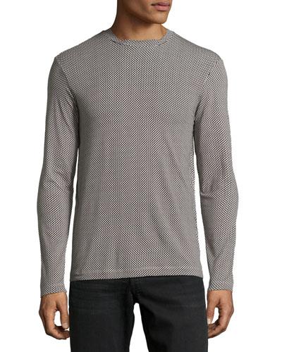 Geometric-Print Long-Sleeve Shirt, Brown