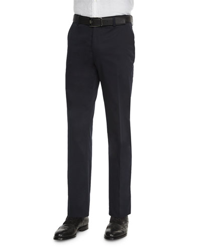 Cotton-Stretch Dress Trousers, Navy