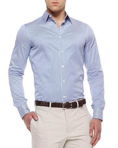 Woven Striped Poplin Shirt, Blue/White