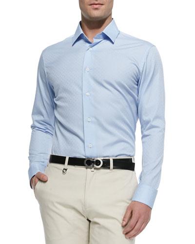 Gancini Jacquard Shirt, Light Blue