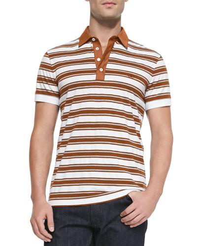 Striped Knit Polo Shirt, White/Orange