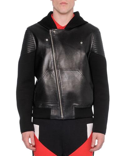 Leather & Neoprene Moto Jacket, Black