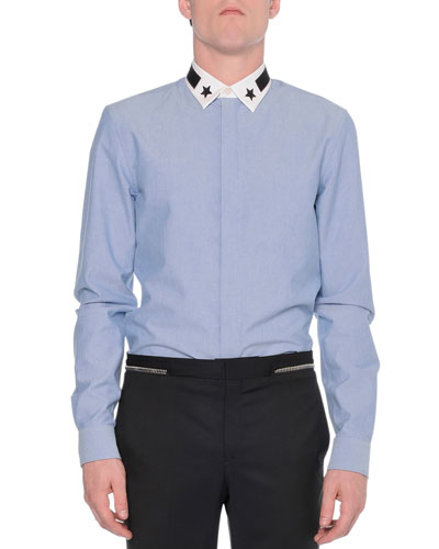 Contrast-Collar Button-Down Shirt, Light Blue
