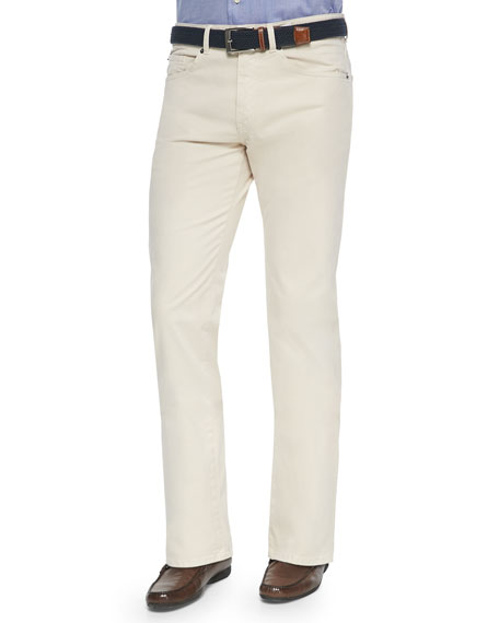 Peter Millar 5-Pocket Stretch Twill Pants, Ivory