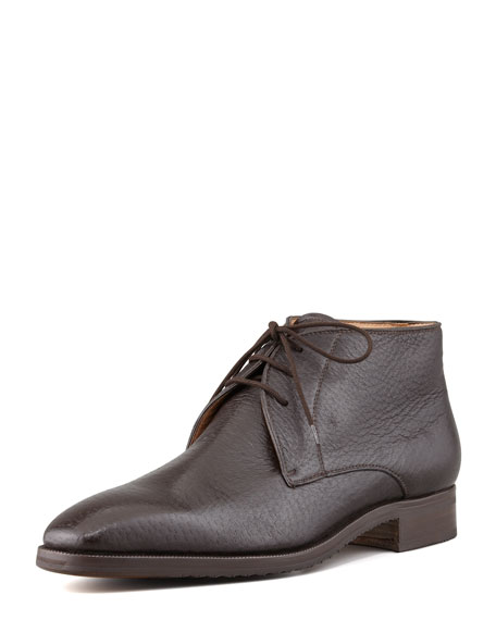 Gravati Peccary Chukka Boot, Dark Brown
