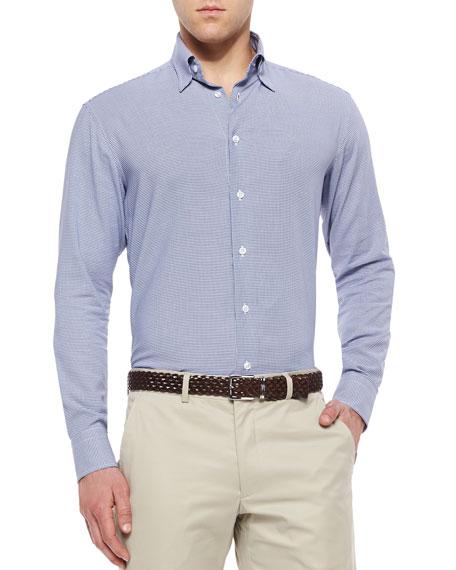 Brioni Zigzag Print Long-Sleeve Sport Shirt, Blue