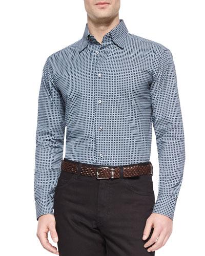 Geometric-Print Long-Sleeve Sport Shirt, Black/Gray